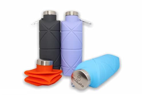 AcQuita Eco - Botella de silicona plegable sin BPA (naranja)