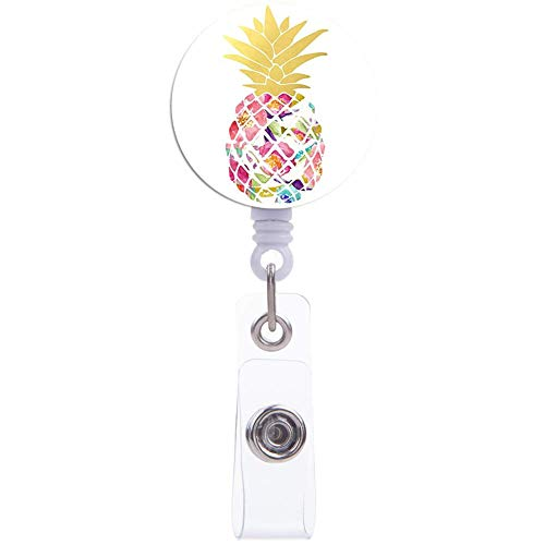 Badge Reel, Nurse ID Card Badge Holder Reel, Colorful Pineapple Retractable Badge Reel with Alligator Clip, Name Decorative Badge Reel Clip on Card Holders for Office Employee