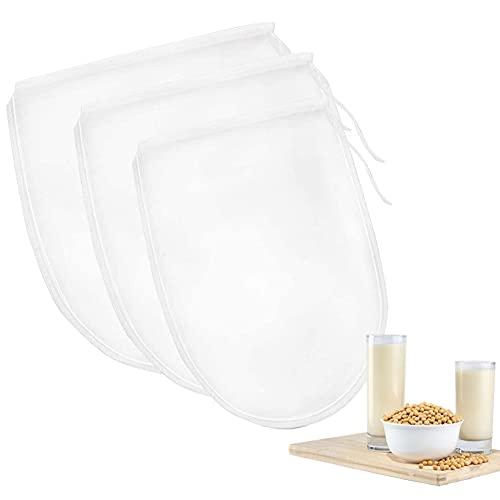 3 pcs Bolsa de Leche de Nuez, Reutilizable Filtro Malla Mejor Colador,para Leches de Nueces y Vegana Fruta Zumos Yogur