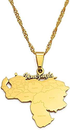 Yiffshunl Collar Nuevo Collar de Venezuela Mapa Colgantes Collares Joyería de Color Dorado Joyería venezolana 60cm Moda