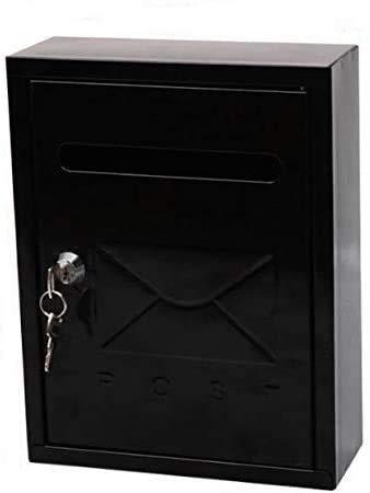 Buzón de acero para pared exterior en varios colores y tamaño reducido (26x7,5x20cm) con cerradura y llaves (Negro)