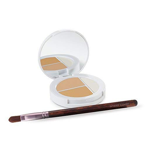 Sheer Cover Studio  Conceal and Brighten Highlight Trio  Two-Toned Concealers  Shimmering Highlighter  Light/Medium Shade  With FREE Concealer Brush  3 Grams