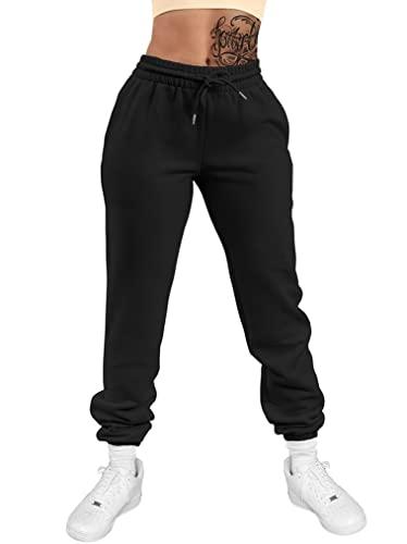 GOKATOSAU Women's Sexy Lounge Stretch Casual Jogger Drawstring Sweatpants with Pockets Black