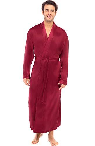 Alexander Del Rossa Men's Lightweight Satin Robe, Long Kimono, Large Burgundy (A0720BRGLG)