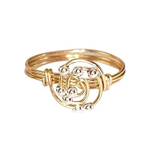 Frdun Anello per ansia, anello creativo in rame con perline di rotolamento, superficie liscia, sollievo dallo stress, regalo di compleanno e Natale per donne e ragazze