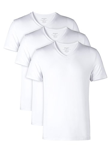 DAVID ARCHY Men's 3 Pack Bamboo Rayon Underwear Soft Comfy V-Neck Undershirts (L, White)