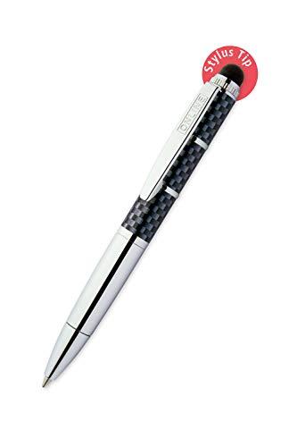 ONLINE Drehkugelschreiber und Eingeabestift in einem, mit Metallclip, D1-Standardmine, Piccolo Stylus Race, 2in1 Mini-Kuli fürs Portemonnaie, blauschreibend, Stylus Tip für Touchscreens