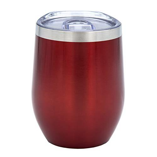 PreVino Edelstahl Isolierbecher (rot), Thermo-Becher, Wein-Glas to go, Reisebecher & Picknickbecher mit Deckel für Kaffee, Tee (350ml)