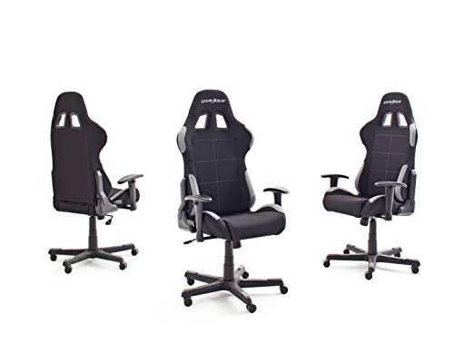 DX-Racer-5-Robas-Lund-Silla-de-EscritorioOficinaGaming-con-Ruedas-Altura-Ajustable-Tapizada-Reposabrazos-Madera-color-NegroGris-74-x-52-x-123-132-cm