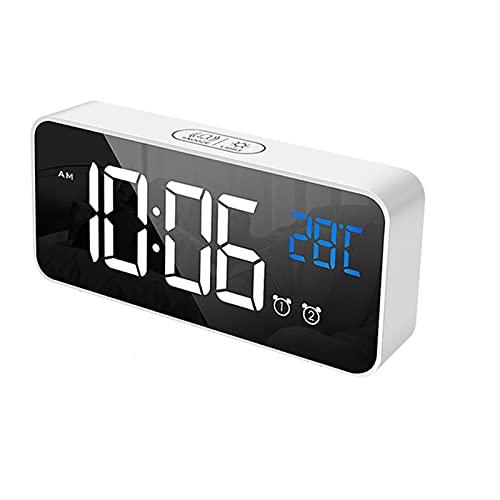 DIRIGIÓ Música Reloj de alarma Digital Reloj 2 Alarma Control de voz Snooze Pantalla de temperatura digital con USB Reloj despertador de cable DIRIGIÓ reloj reloj de alarma digital reloj de noche