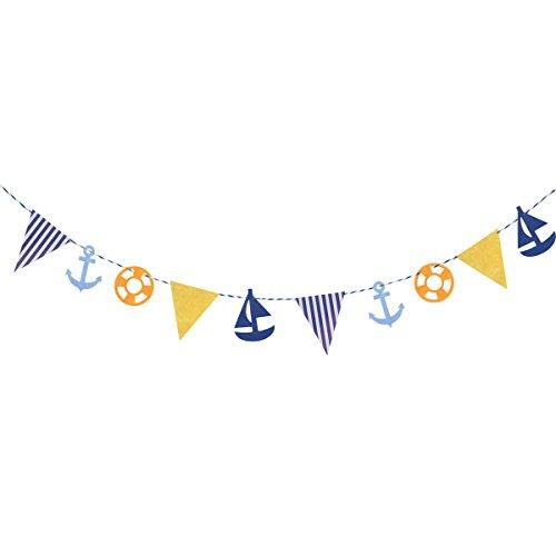 Tinksky 3.4 Metros Estilo Mediterráneo Kids Dormitorio Guirnaldas Decorativas Bandera Ancla Bote De Barco Bunting Bandera Decoración Adornos De Decoración Para Niños Decoración De Cumpleaños