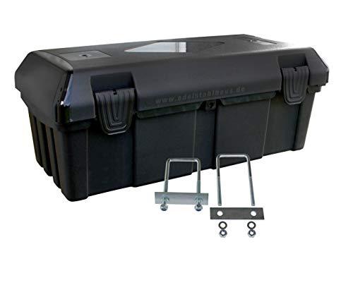 Deichselbox mit 2 Verschlüssen inkl. Edelstahlhaus Halter, Werkzeugkasten für Anhänger Staukiste 30 ltr Anhängerbox, Daken B23-0+MON4002