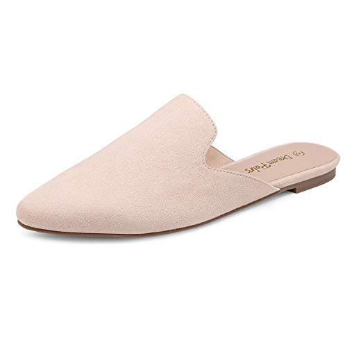 DREAM PAIRS Women's Dml211 Flat Mules Pointed Toe Backless Loafer Shoes, Arricot Nude Suede, Size 7.5