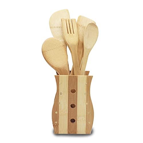 FGC Set di 5 Utensili da Cucina in Legno, Kit Completo di Spatole, Paletta, Mestolo, Forchettone da...