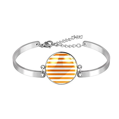Pulseras para mujeres y niñas de acero inoxidable con diseño de rayas blancas y naranja