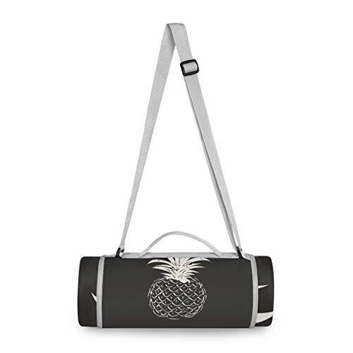 BEUSS Schwarz Weiße Ananas Picknickdecke wasserdicht Kreative Runde Picknick-Matte Kampierende Strand Yoga Decken Matten im Freien Faltbar Leicht Matte Decke mit Tragegriff (148cm x 148cm)