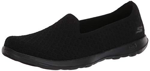Skechers Damen GO Walk LITE Sneaker, Schwarze, Schwarze Textilverzierung, 40 EU