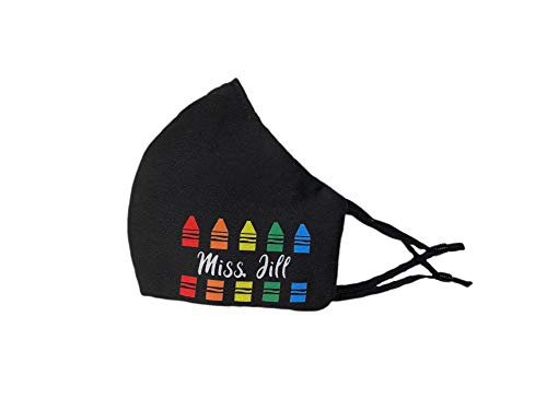 Black Crayons | Customized | Teacher's Name | Reusable Washable Anti Dust Fashion Balaclava Cover | Breathable Bandanna with Filter Slot | Inside Layer Cotton 100% | Men Women | Back to School