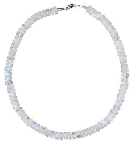 ERCE piedra de luna arco iris piedra semipreciosa collar, cierre de plata de ley 925, longitud 45 cm
