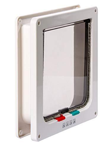 BUSDUGA Katzenklappe 4 Wege, Magnet-Verschluss, ideal auch für große Katzen, 23,5x25 mit Bürstendichtung (Weiss)