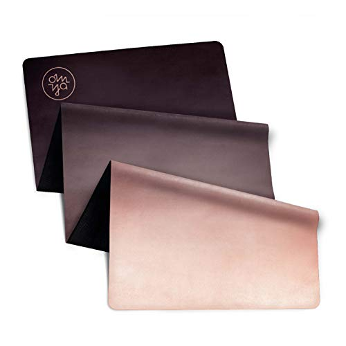 OM YA Design Yogamatte - rutschfest - dünn & leicht faltbar - 1,0 mm - ökologisch aus Naturkautschuk - Oberfläche Mikrofaser - Ideal für Hot Yoga,...