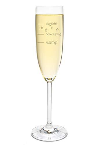 FORYOU24 Leonardo Sektglas mit Gratis Gravur - Guter Tag - Schlechter Tag - Frag Nicht - das Stimmungsglas als super Geschenkidee