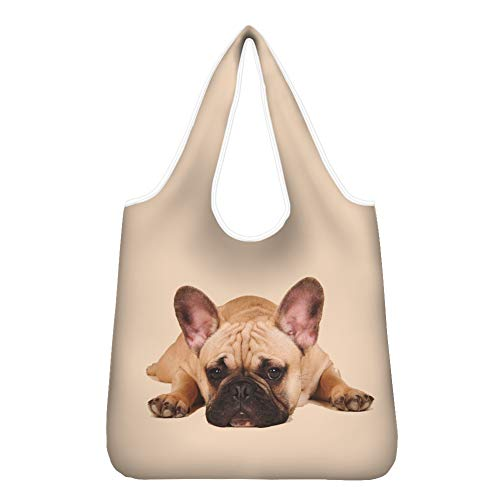 Upetstory Tote Bag Purse Heavy Duty French Bulldog Reusable Grocery Bag Travel Shopping Bag with Pouch Machine Washable 26.2 x 13.8 inches