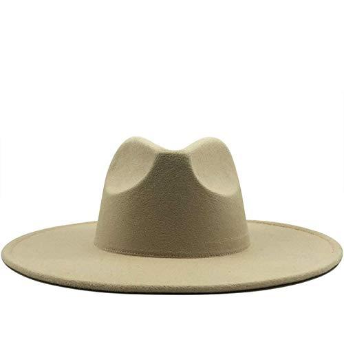 NuevoGorro de Fieltro clásico sólido de Invierno para Hombres y Mujeres, Sombrero de Jazz de 9,5 CM de ala Ancha, Sombreros Blancos Grandes-beige-56-58CM
