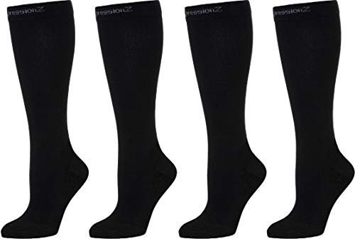 CompressionZ 2 Pack Compression Socks For Men Women - Tight 30 40 mmHG Graduated Compression (Black 2P, L)
