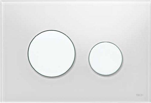 TECE loop Betätigungsplatte für WC (Glas weiß, Tasten weiß, Zweimengentechnik, bedienbar von oben und vorne) 9240650