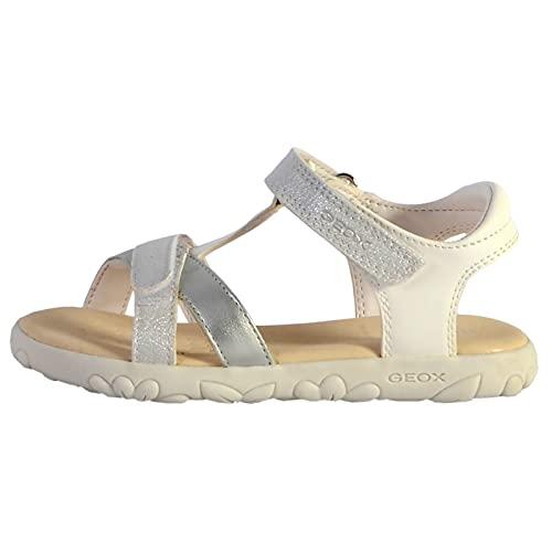Geox Mädchen Sandalen Sandal Haiti Girl,Kinderschuhe,Sandaletten,Sommerschuhe,Freizeitschuhe,Klettverschluss,Weiß (White/Silver),34 EU / 1.5 UK