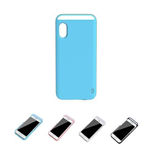 QfireQ Hülle Selfie Licht für iPhone X/iPhone XS mit 3 Farben Einstellbare Helle Wiederaufladbares Licht Füllen Handyhülle Schutzhülle,Blau,6/6S