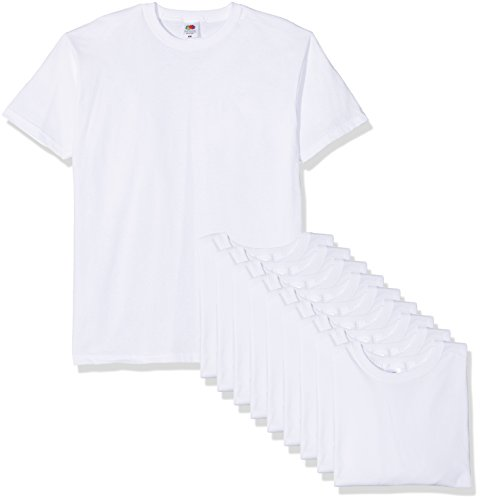 Fruit of the Loom Valueweight Short Sleeve Camiseta, Blanco, L (Pack de 10) para Hombre