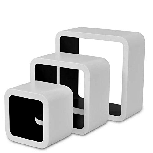 Wakects 6 Piezas Cubos estantes Exhibidores Flotantes, Estanterías de Pared Cubos Retro Estantería para Libros Escaleras de Rectangulares Blanco Negro, para Sala de Estar Domitorio Oficina