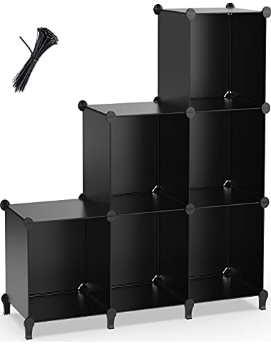 6-Cube Storage Shelf, Storage Bookcase Bookshelf with Metal Hammer, Storage Cubes Organizer Cabinet for Kids, Closet, Bedroom, Bathroom, (11.8x11.8x11.8 inch), Black