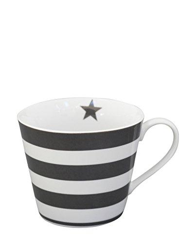 Krasilnikoff - Happy Cup - Becher mit Henkel - Kaffeetasse - Tasse - dunkelgraue Streifen Höhe 9 cm Ø 10 cm