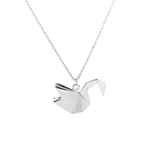 Collier pour femme avec pendentif en forme de grue Origami en forme de cygne - Argent