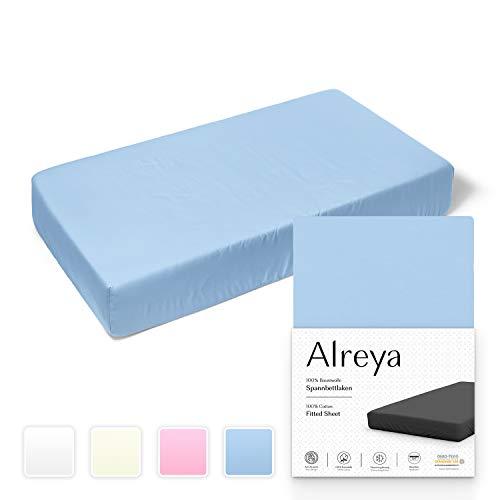 Alreya Spannbetttuch für Kinderbett Babybett 100{8dcb98a771fb71c27fd0061304602d6c531d6a1953407d27a0368c11b0b9333e} Baumwolle - 60x120 / 70x140 cm blau - Hypoallergen Spannbettlaken Jersey Oeko Tex zertifiziert