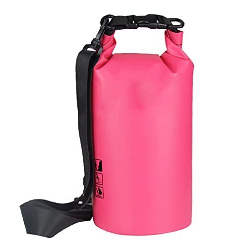 Lixiabeidai Waterproof Dry Bag, Waterproof Backpack Dry Sack, Swim Bag with Adjustable Shoulder Straps, for Beach Swimming Kayaking Hiking Boating Canoeing Surfing Fishing,Pink-15L