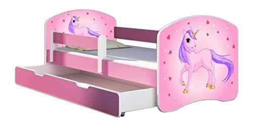 Kinderbett Jugendbett mit einer Schublade und Matratze Rausfallschutz Rosa 70 x 140 80 x 160 80 x 180 ACMA II (17 Pony, 80 x 160 cm mit Bettkasten)