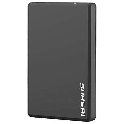Suhsai External Hard Drive HDD 2.5' USB 3.0 Ultra Fast Slim Drive, Portable Hard Drive for Storage, Back up for PC, MAC, Desktop, Laptop, MacBook, Chromebook, Xbox, PS3, PS4, Smart Tv (100GB, Black)