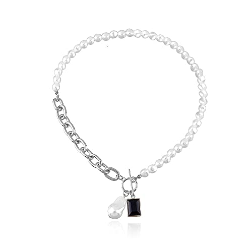 Colgante geométrico ligero en forma de perla colgante collar tendencia femenina moda collar de piedras preciosas negras