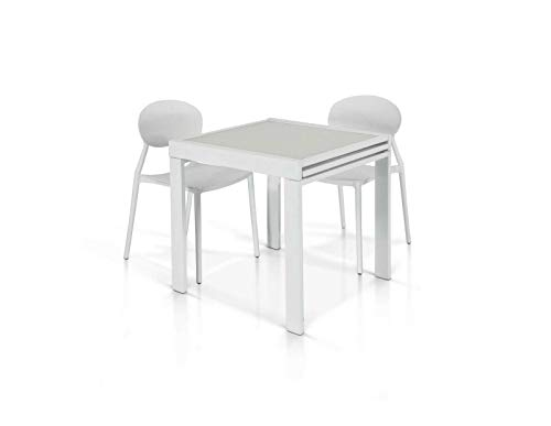 Tavolo Allungabile fino a 140 cm, Moderno, Piano in Vetro Bianco, Base Metallo bianco - Mis. 70×70x75 cm.