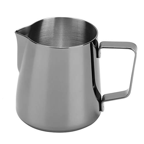 Alinory Stainless Steel Milk Frothing Jug Frother Coffee Latte Container Pull Cup Durable and Easy to Clean(350ML-Ti-Black)