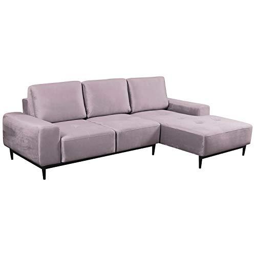 mokebo Ecksofa 'Die Leichtfüßige', modernes 3-Sitzer Sofa & Schlafsofa mit Bettkasten, Velouroptik in Flieder