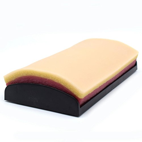 Training Suture Pad Skin Model Practice with Curved Base, Anti-Slip Rubber Stoppers, 3 Layers,...