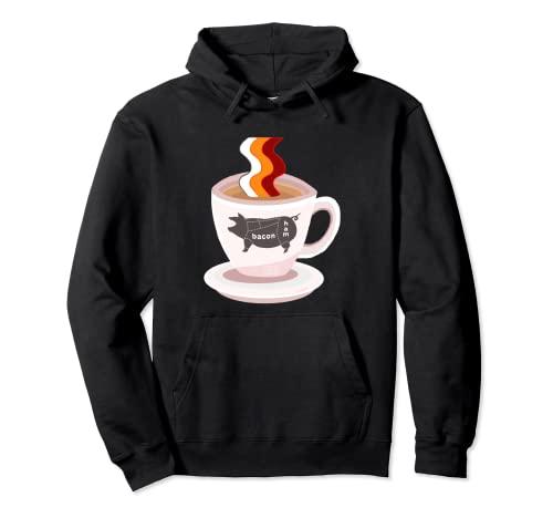 Diseño divertido del café del tocino, granos de café tostados del tocino Sudadera con Capucha