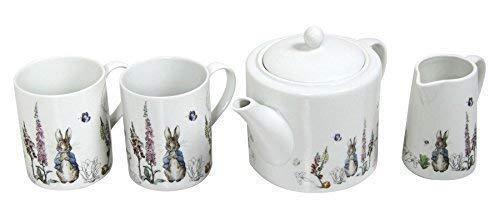 BEATRIX POTTER PETER RABBIT BLEU GRIS PORCELAINE BLANCHE mugs Théière & pot à lait