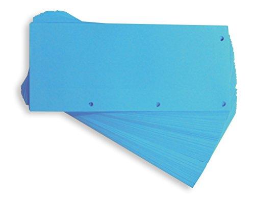 Oxford - Trennstreifen DUO aus recyceltem Karton, vollfarbig, gelocht, 10,5 x 24 cm, 160 g/m², 60 Stück, Blau