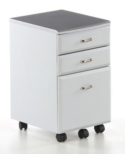 hjh OFFICE 673801 Rollcontainer Silber Grau Bürocontainer für Schreibtisch, 3 Schubladen, feststellbare Rollen